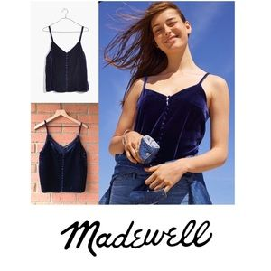 Madewell Velvet Button-Down Cami | Blue | NWT | 10